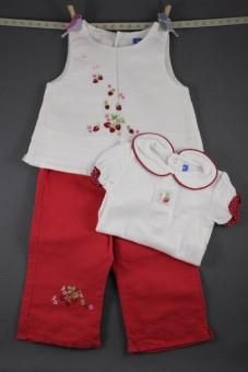 """Ensemble pantalon, blouse et body """"fraises"""" Bout'chou"""