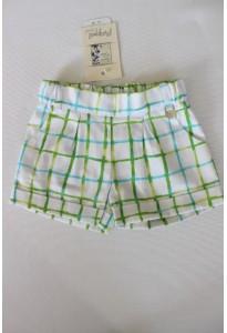 Short blanc à carreaux turquoise et vert Mayoral