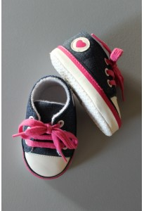 Bottons-Baskets denim et fuchsia