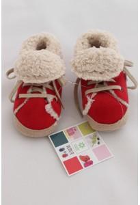 Chaussons (baskets) rouges, fourrés Mon petit chausson
