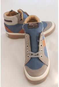Chaussures montantes cuir bleu et gris Krokodile babybotte